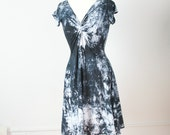 large hand painted twist front cotton dress navy and white