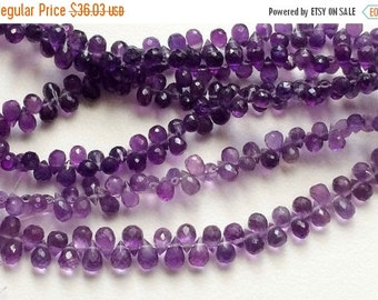 55% ON SALE Amethyst Briolettes, African Amethyst, Faceted Tear Drop Beads, 4x5mm Approx, 30 Pieces ApproX