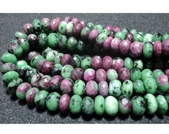 55% ON SALE Ruby Zoisite Beads, Faceted Rondelle Beads, 9mm beads, Gemstone Beads, 18 Pieces, 4 Inch Half Strand
