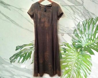 90s Grunge Olive Green Silk Tie Dye Maxi Dress size Large