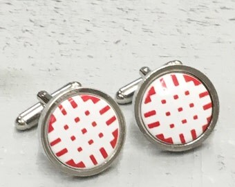 Porcelain and Rhodium hand made Welsh cufflinks featuring reverse tapestry print in black and white.
