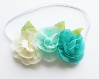 Chiffon Flower Headband - Turquoise Aqua and Cream - Baby Headband - Baby Shower gift - Infant Headband - Flower Crown- Baby Flower Headband