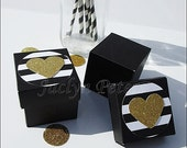 Black & White, Stripe Wedding Favor Boxes, Gold Glitter Heart, Sweet 16 Candy Box, Bridal Showers, 50th Anniversary Party Favors, Set Of 24