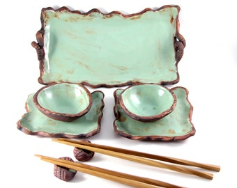 Sushi Set - Ceramic platter, plates and dipping bowls with wood grain pattern