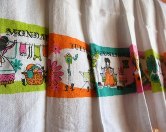Vintage Day of the Week Towels Flower Power Colors