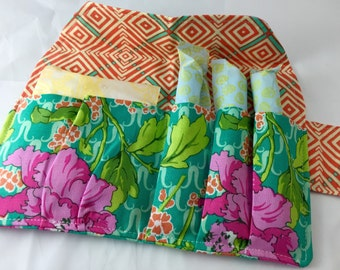 Privacy Pouch - Green Tampon Case - Sanitary Pad Case - Pad Pouch - Tampon Bag - Tampon Holder - Amy Butler Violette Field Poppy in Rose