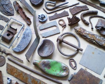 70 Rusty Metal Pieces - Found Objects for Assemblage, Jewelry or Altered Art - Salvaged Supplies - Industrial Salvage