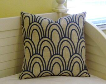 "Studio Bon Scallop in Prussian (Teal)  18"" x 18"" Designer Pillow Cover"