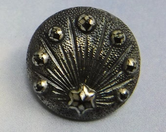 Vintage Glass Button 5/8 Gunmetal Black Shooting Star Ornate Vintage Button 413