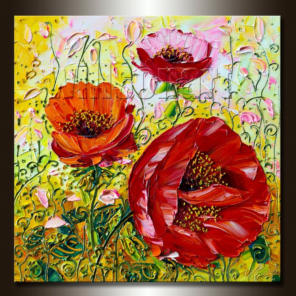 Modern Flower Canvas Oil Painting Poppy Red Poppies Textured