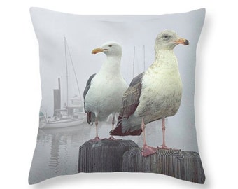 Sea Gulls in a Misty Harbor with Boats on Vancouver Island British Columbia Canada No.1352 novelty throw pillow Home Décor cushion cover