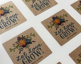Wedding Sticker, Wedding Favor Sticker, Let Love Grow Sticker, Kraft Sticker, Flower Sticker, Wedding Flower Sticker, Flower Invitation