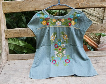 L-XL Bohemian Embroidered Top - Grey