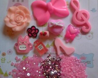 Kawaii deco decoden phone diy pink girly cabochon charm kit   # 605---USA seller