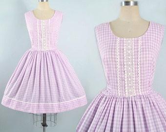 Vintage 50s Dress / 1950s Sundress LAVENDER Lilac Cotton GINGHAM Embroidered Crochet Ric Rac Trim Full Skirt Garden Picnic Party Large XL
