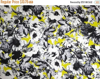 ON SALE Black and Gray with Acid Green Floral Print Pure Cotton Sateen Fabric--One Yard