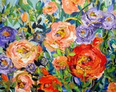 Wrought Iron Rose Garden Commission for Lauren  24 x 36  Fine art by Elaine Cory