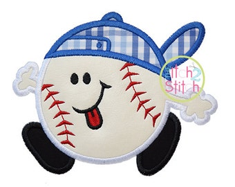 """Baseball Run Applique Design In Hoop Size(s) 4x4, 5x7 & 6x10, Shown with our """"Brady"""" Font NOT Included, INSTANT DOWNLOAD now available"""
