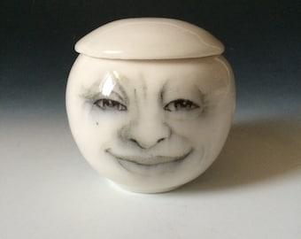 Mister Moon Jar, Man in the Moon Jar, Porcelain lidded Jar, Sugar Bowl, Candleholder, Collectible