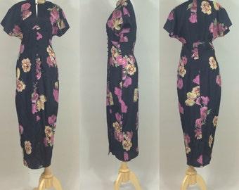 Karen Alexander Dress / Vintage Black Dress / Vintage Floral Dress / Vintage Karen Alexander Floral Print Dress