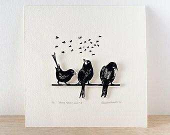Bird art print - original linocut print - bird decor- wall decor- linoleum