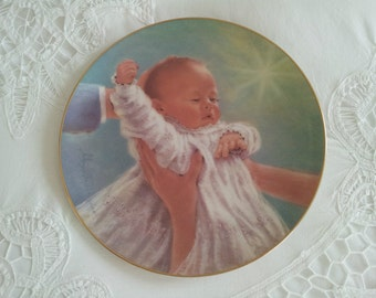 The Christening, Baby Collector Plate by artist Abbie Williams, Nursery Decor, Baptism or Christening Gift