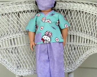 Hello Doctor Kitty Scrubs Handmade to Fit American Girl and Other 18 Inch Dolls