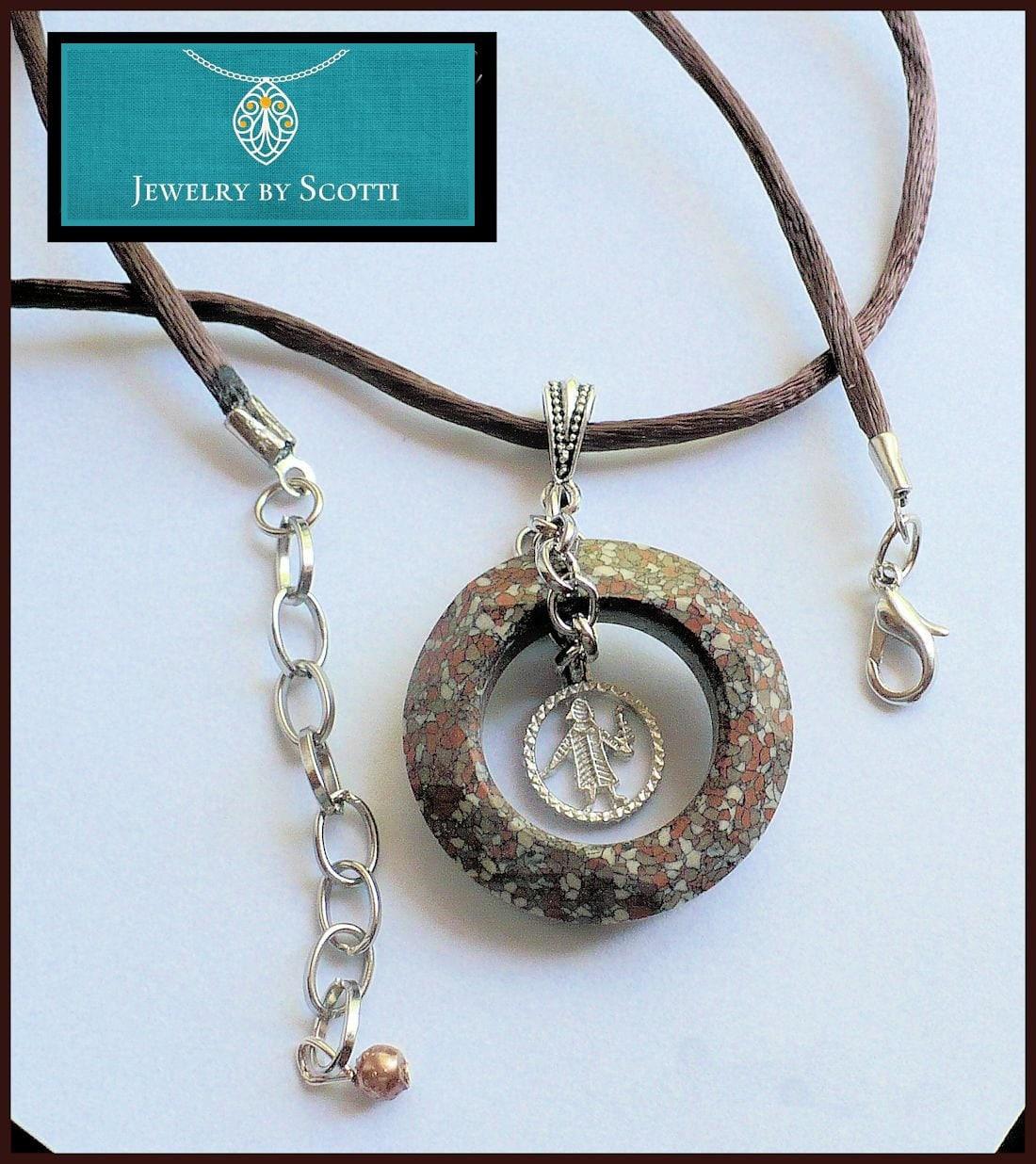 virgo charm pendant necklace zodiac necklace brown