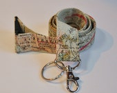Fabric Lanyard  ID Badge Holder -  Teacher lanyard - world map lanyard - travel agent  geography professor  - Breakaway clasp optional