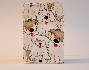 Passport Cover Sleeve Case Holder  Cotton Fabric shaggy dog sheepdog white and brown doggie puppy