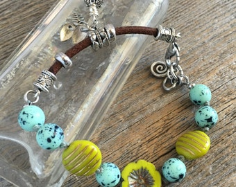 Hand Knotted Bracelet, Czech Beads, Leather Link with Charms