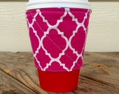 Spring Botanical Flowers and Pink Coffee Cozy Reversible Gift for Her