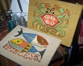 RESERVE  FOREVER MICKANDKEITH ~Handmade Retro Boho Vintage Pisces and Cancer Zodiac Needlepoint  Embroidery on Burlap Wall Art Decor