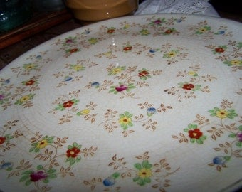 Gorgeous HandPainted Vintage Sassy Cottage Chic Decorative Floral Serving Platter with Gold Detail Trim Made in Japan