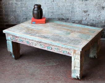 Reclaimed Coffee Table Salvaged Indian Architectural Elements Jodhpur Blue Carved Wood Media Stand