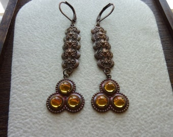 40% OFF SALE! Contemporary Filigree Lattice with Topaz Glass Charm Earrings