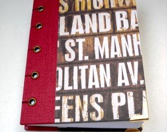 Coptic Stitch Journal, Subway Sign Journal, Handmade Journal, Grunge Journal, Hardcover Blank Journal