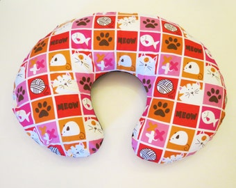 Cats and Brown Polka Dots Reversible flannel baby Boppy or nursing pillow cover