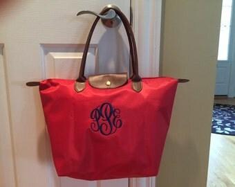 SHIPS NEXT DAY -- Personalized Monogrammed Designer Inspired Longchamp Red Vinyl Nylon tote bag purse --Free Monogramming