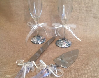 Beach Wedding Set Abalone Shell Encrusted Toasting Champagne Flutes or Wine Glasses Cake Serving Set with Crystal Acrylic Handles