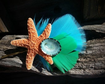 Colorful Feather Fairy & Mermaid Party Favor Gift Boho Fantasy Hair Accessory Real Sugar Sea Star Starfish Bobby Pin Coastal Beach Wardrobe