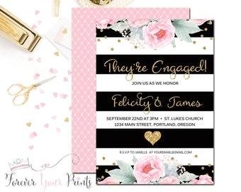 Couples Engagement Invitation - Bridal Shower Invitation - Wedding Shower - Engagement Invite - Black and White Striped Shower Invitation