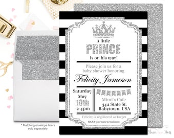 Royal Prince Baby Shower Invitations, Boys Baby Shower Invitations, Baby Shower Invitations Boy, Black and Silver, Boys Baby Shower Invites