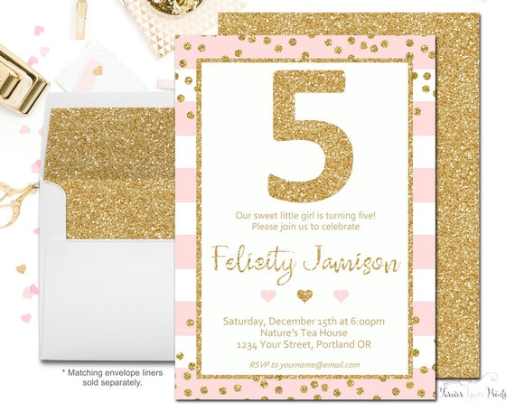 Girls 5th Birthday Invitations Girls Birthday Party Invitations – 5th Birthday Party Invitation