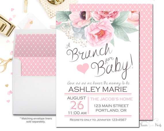 baby shower invitations floral baby shower invitation brunch for baby invitation 12235