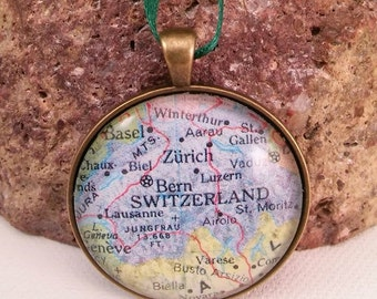 Switzerland Map Christmas Ornament,  Keep a memory Alive / HONEYMOON Gift / Wedding Map Gift / Travel Tree Ornament / Corporate gift