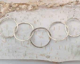 Five Abstact Circle Necklace , Sterling Silver hand-forged pendant