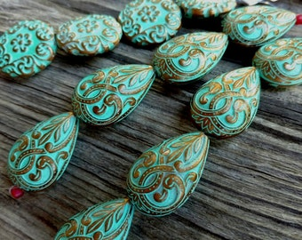 Resin Teardrop Pendant, Scroll Work, 27x18mm, Gold with Turquoise Wash, Priced per Piece