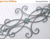 Fourth of July SALE Wrought Iron Wall Decor / Indoor /Outdoor / Patina / Fleur de Lis / Shabby Chic Decor / Bedroom Wall Decor / Kitchen Dec