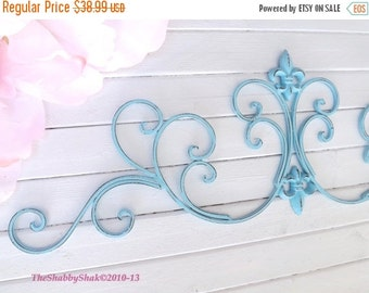 Aqua Wall Decor / Wrought Iron /Fleur De Lis Wall Decor / Shabby Chic Decor / Bedroom Wall Decor / Kitchen Decor